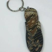Shoe Keychain Preowned Fabric Slipper Key Holder Collectible Key Ring Keyring Photo