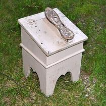 Shoe Shine Bootblack Box Stool Cast Iron Foot  Antique 1900 Original Folk Art Photo