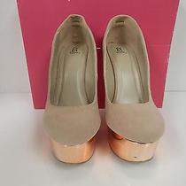 Shoedazzle Corina Women Wedge Metallic Blush Platform Size 6.5 M Photo