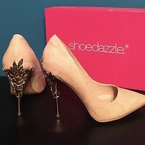 Shoedazzle Pumps Blush Esperanza Size 9 Unique Metallic High Heels Likenew Photo