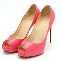 Shoes Christian Louboutin Open Toe High Heels Pumps Patent Leather Pink 38 1/2 Photo