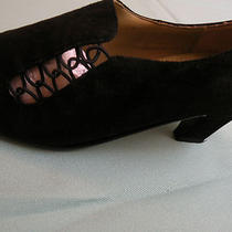 Shoes Size 6b Express Rush Hour All Black Suede Sensible Heels  Awesome Photo