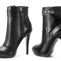 Shoes Women High Heels Guess Shanda Ankle Boots Pointed Toe Leather Black Photo