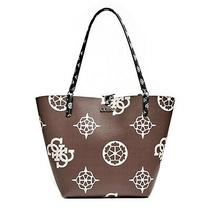 Shopper Bag Guess Woman Brown Leather Logo Peony White Clutch Bag Included Photo
