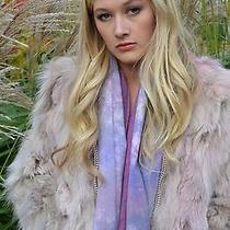 Short Fox Fur Coat Hoodie Hood New Funky Boho Pink Grey Gray Blush Xs S M Small Photo