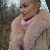 Short Peach Pink Blush Rose Quartz Dyed Fox Fur Coat Boho  Medium Large 14 New  Photo