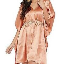 Short Silk Caftan Blush Lounge Wear Satin Kimono Beach Wear Coverup L-36