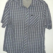 Short Sleeve Blue Plaid Nylon Blend Vented Camp Shirt by Columbia Size L Photo