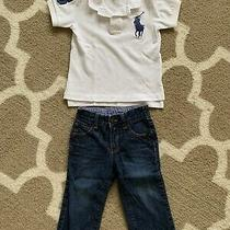 Short Sleeve Ralph Lauren White Polo Shirt and Jeans  Gap Toddler 18 Mos Photo