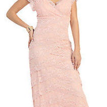 Short Sleeve v Neck Layered Lace Long Floor Length Mob Plus Sizes Formal Gown Photo