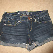 Shorts - Aeropostale - Shorty - Dark Blue - Denim - Cuffed - Distressed - Sz 000 Photo
