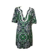 Shoshanna 2 Green Black Paisley Print Silk Short Sleeve Dress Photo