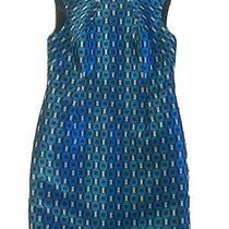 Shoshanna Anthropologie Sleeveless Metallic Blue Multicolor Dress Sz 8 Lk Nw Photo