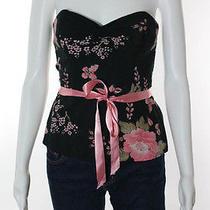 Shoshanna Black Pink Strapless Floral Print Belted Corset Top Sz 4 Photo