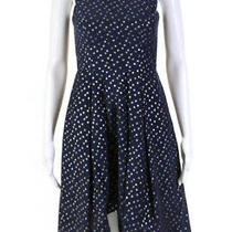 Shoshanna Womens Metallic Dot Jacquard Sleeveless Dress Blue Size 0 10478990 Photo