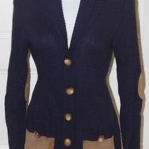 Shoshanna Womens Navy Blue Shawl Coller Belted Cardigan Sweater Elbow Patch Sz P Photo