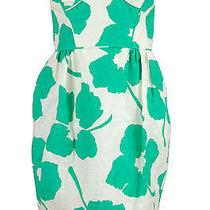 Shoshanna Womens White Green Strapless Leaf Print Tea Dress 4 395 New Photo