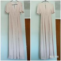 Show Me Your Mumu Women's Xs Emily Empire Maxi Dress Blush Pink Beige Slit Photo