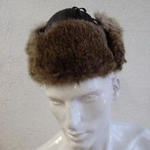 Showroom New Black Leather & Natural Rabbit Fur Hat Men Man Size 22