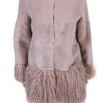Shrimps Womens Faux Shearling Fringe Trim Jacket Blush Pink Size 8 Photo