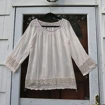 Shyloh for Made in Italy Blush Crochet Embroidered Crinkled Top Lagenlook M/l Photo