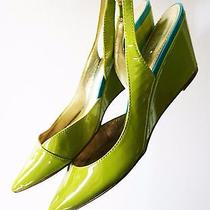 Sigerson Morrison Belle Shoes Wallis Slingback Wedge Lime Patent Leather Pump 10 Photo