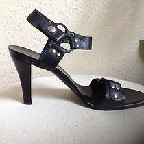 Sigerson Morrison Black Leather Silver Grommets & Leather Rings Sandals Sz 10 B Photo
