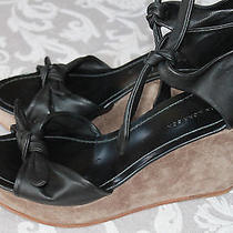 Sigerson Morrison Black Leather Ties Detail Ankle Strap Wedge Sandals Sz 10 1/2 Photo
