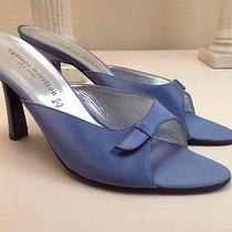 Sigerson Morrison Italy Blue Satin & Leather Mule Slide Sandals Women's Size 10 Photo