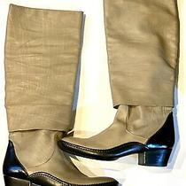 Sigerson Morrison Knee Length Boots Leather Beige Black Italy Size 10 Photo
