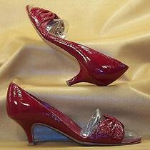 Sigerson Morrison Vogue Cherry Red Crinkled Patent Leather Open Toe Pumps 7 B Photo