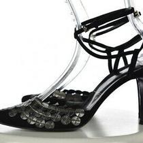 Sigerson Morrison Womens Shoes Size 9.5 B Black Ankle Strap Pumps Leather Heels Photo