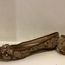 Signature Coach Flats With Gold Chain Like Detail on Toe Photo