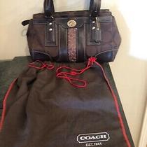 Signature Coach Large Brown Tan Canvas Leather Coach Hobo Purse Handbag  Photo