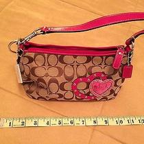 Signature Coach Pink Heart Wristlet With Breast Cancer Hearts Keychain Photo