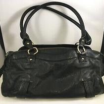 Sigrid Olsen Blue Black Leather Shoulder Bag Handbag Purse Gold Ring Medium Photo