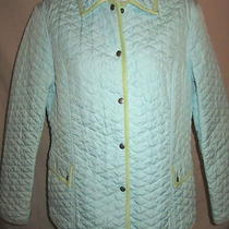 Sigrid Olsen Coat S Quilted Lt Wt Spring Jacket Aqua Blue Snaps Faux Suede Trim Photo