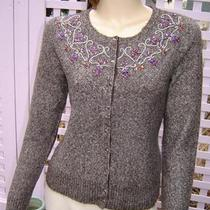 Sigrid Olsen Mocha Brown Heather Beaded Cardigan Sweater (S) New Photo