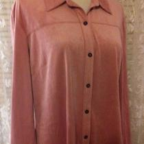 Sigrid Olsen Sport Pink Blush So Soft Faux Suede Blouse Fab for Fall Sz Pl Nwot Photo