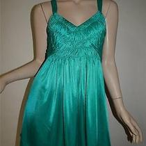 Silence  Noise Anthropologie Sz M Green Baby Doll Smock Tunic Top Mini Dress Photo