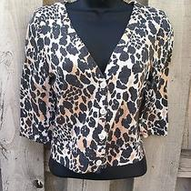 Silence  Noise Urban Outfitters Animal Print Button Front Short Sweater Sz S Photo