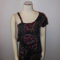 Silence  Noise Urban Outfitters Black/red/pink Floral Ruffle One Shoulder Top L Photo