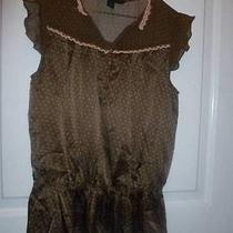 Silk Express Brown Eyelet Gathered Wst Sheer Shirt Blouse Flutter Sleeve Small S Photo