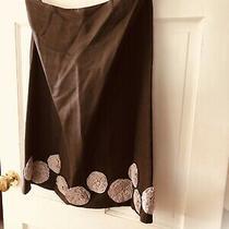 Silk Linen Boden Skirt ( Brown/ Blush Pink Rosettes) 12l Lined Photo