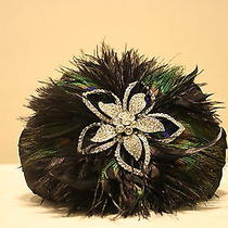 Silk Satin French Evening Bag With Swarovski Elements Peacock Feathers Photo