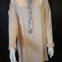 Silk Satin Swarovski & Mother of Pearl Embelished Jeweled Tunic/dress Xl Photo