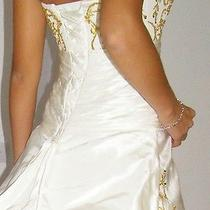 Silk Taffeta's Victorian Wedding Dress With Train Fantasy Gold Embroidery Ivory Photo