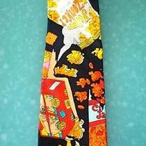 Silk Tie Nicole Miller Sueded Junk Food Theme Cracker Jack Yellow Zonker 1990 Photo