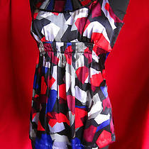 Silk Top Kensie Pretty Stunning Stained-Glass Look Xs 100% Silk Euc Black Multi Photo