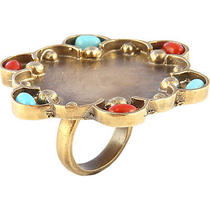 Silvana K Designs Layla Ring With Coral & Turquoise Jewelry New Photo